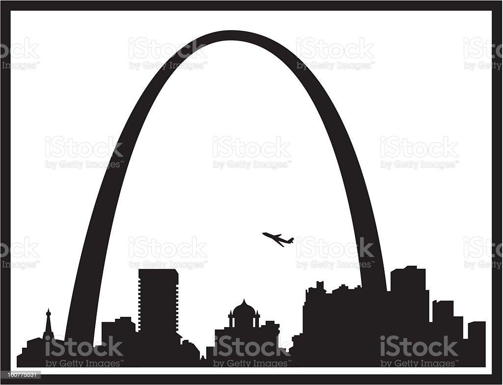 St Louis Skyline Silhouette royalty-free stock vector art