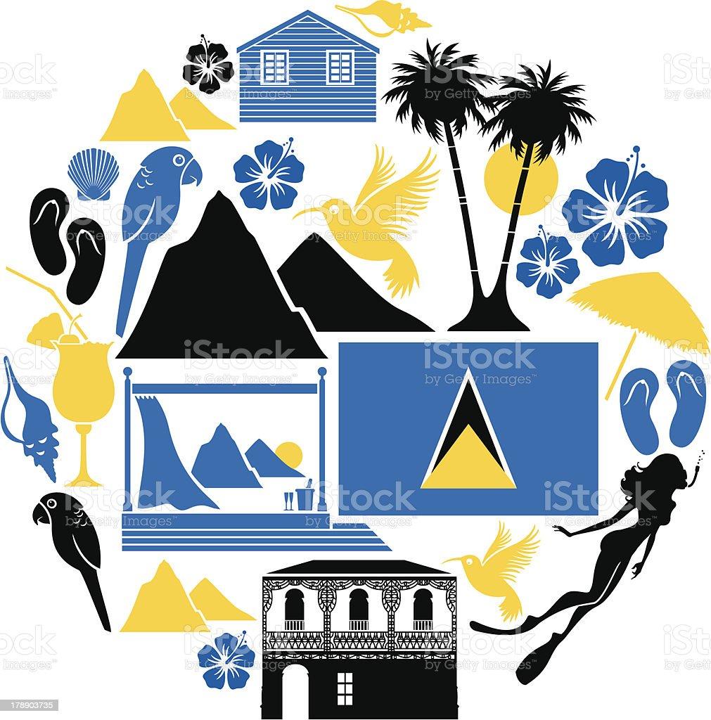St Lucia Icon Set vector art illustration