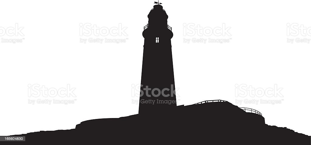 St Mary's Lighthouse in Silhouette royalty-free stock vector art