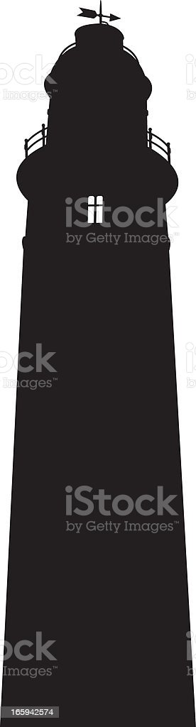 St Mary's Lighthouse Tower in Silhouette royalty-free stock vector art