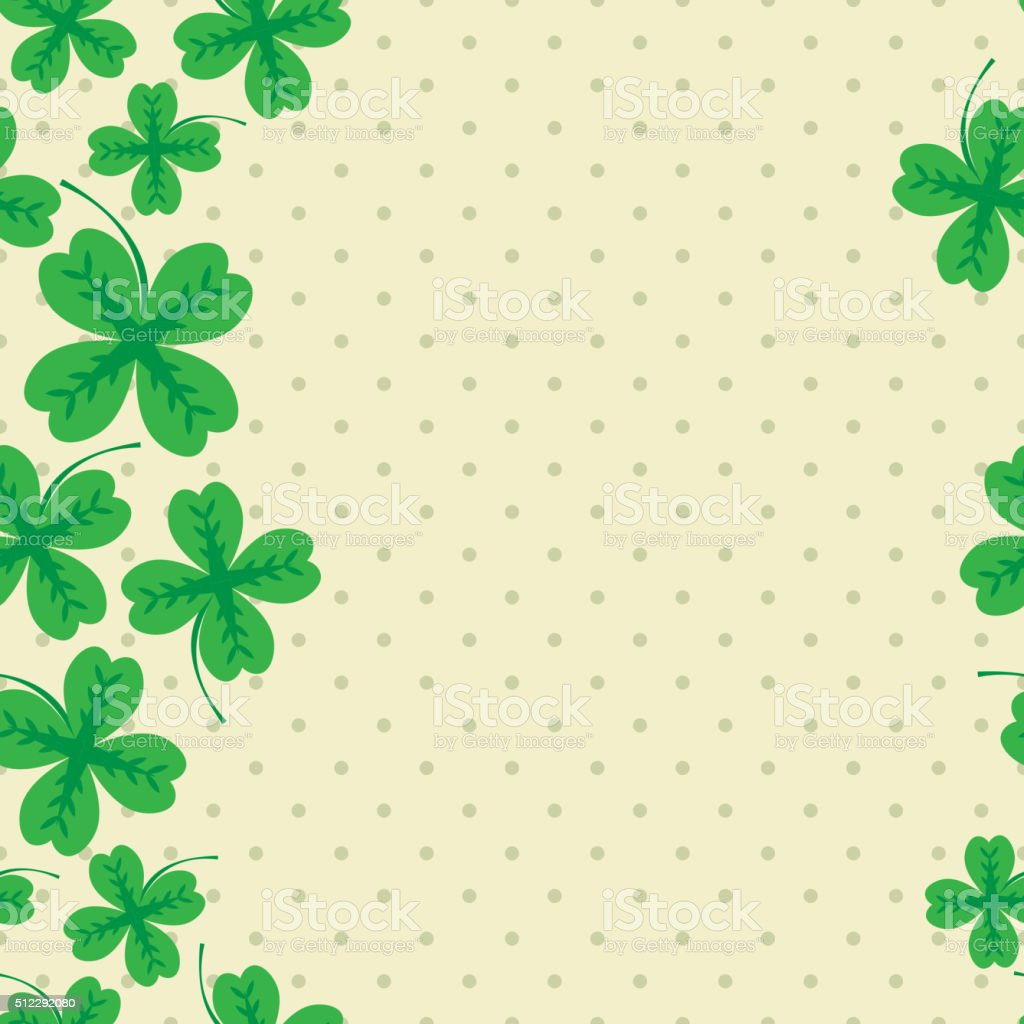St Patric day pattern with green clover leafs vector art illustration