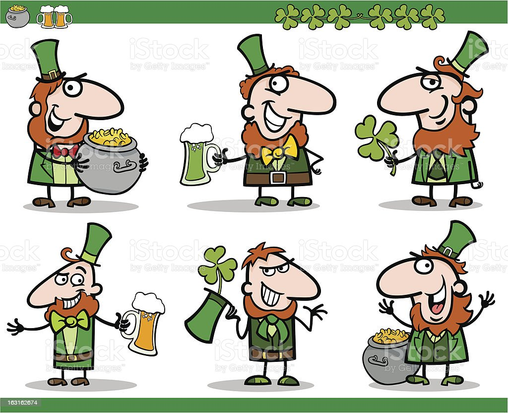 st patrick day themes set cartoon illustration royalty-free stock vector art