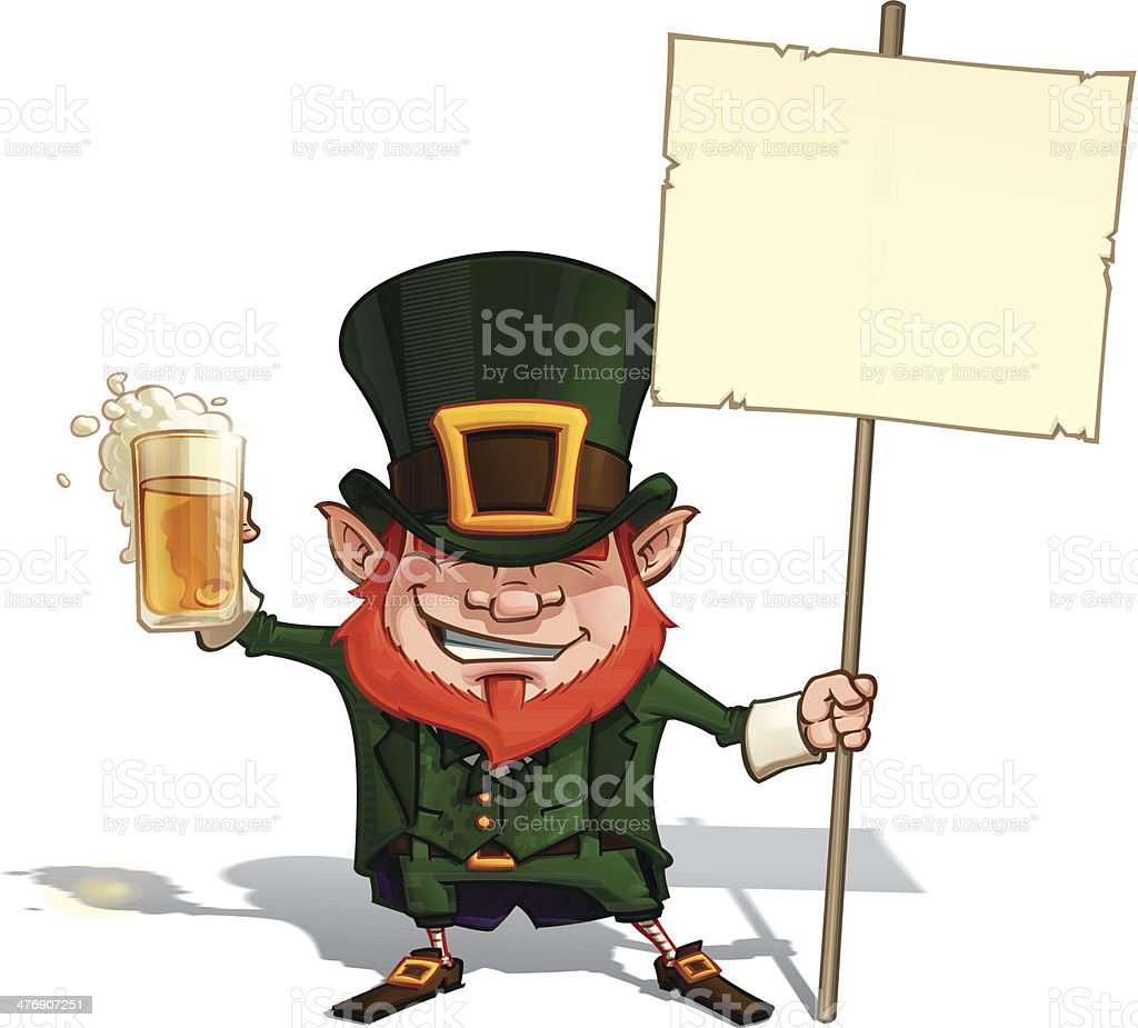 St. Patrick Holding a Placard royalty-free stock vector art