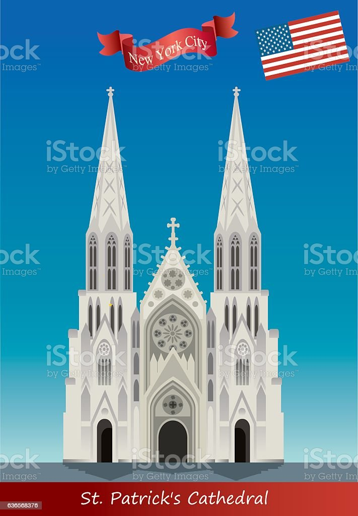 St. Patrick's Catedral vector art illustration