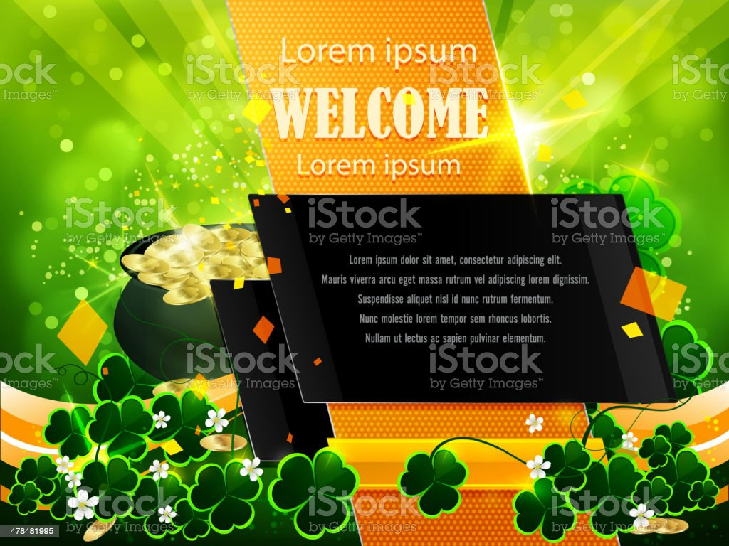 St Patrick's Day Background with Copy space royalty-free stock vector art
