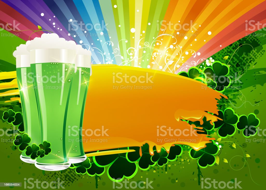 St Patrick's Day Background with Green Beer Glasses royalty-free stock vector art