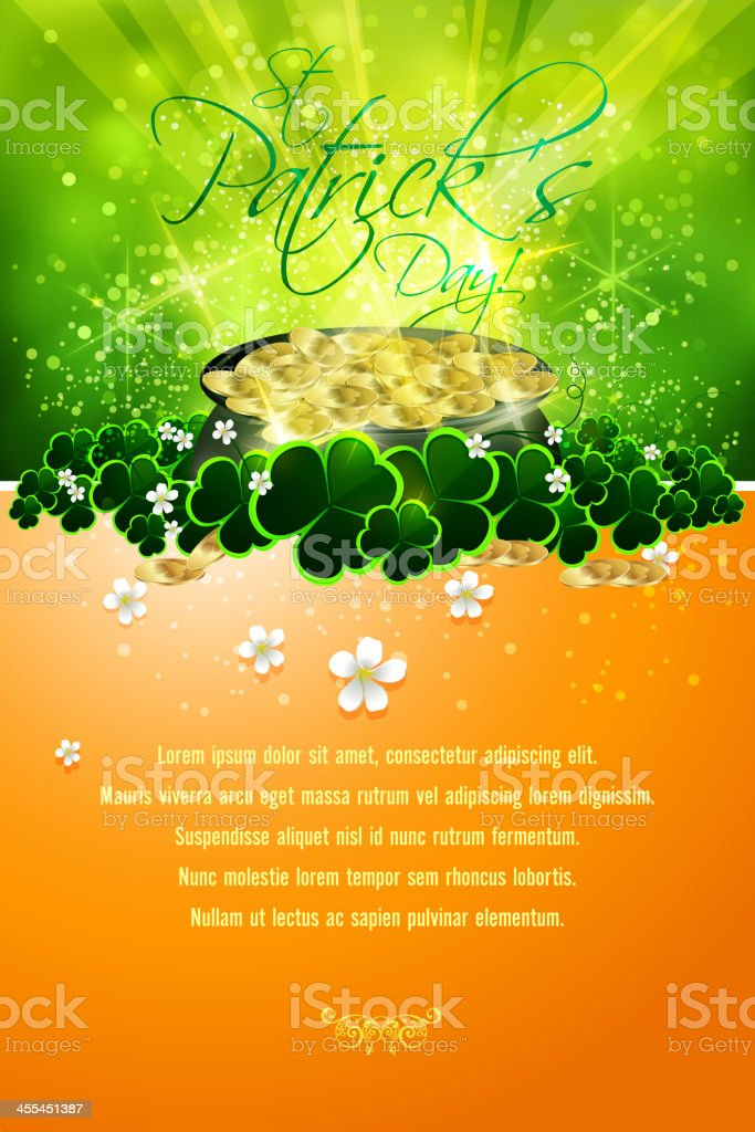 St Patrick's Day Background with Pot of Gold Coins vector art illustration