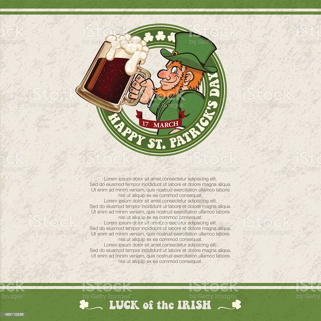 St. Patrick's Day background[Leprechaun and beer] vector art illustration