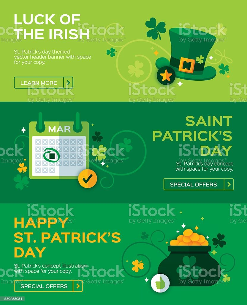 St. Patrick's Day Banners vector art illustration