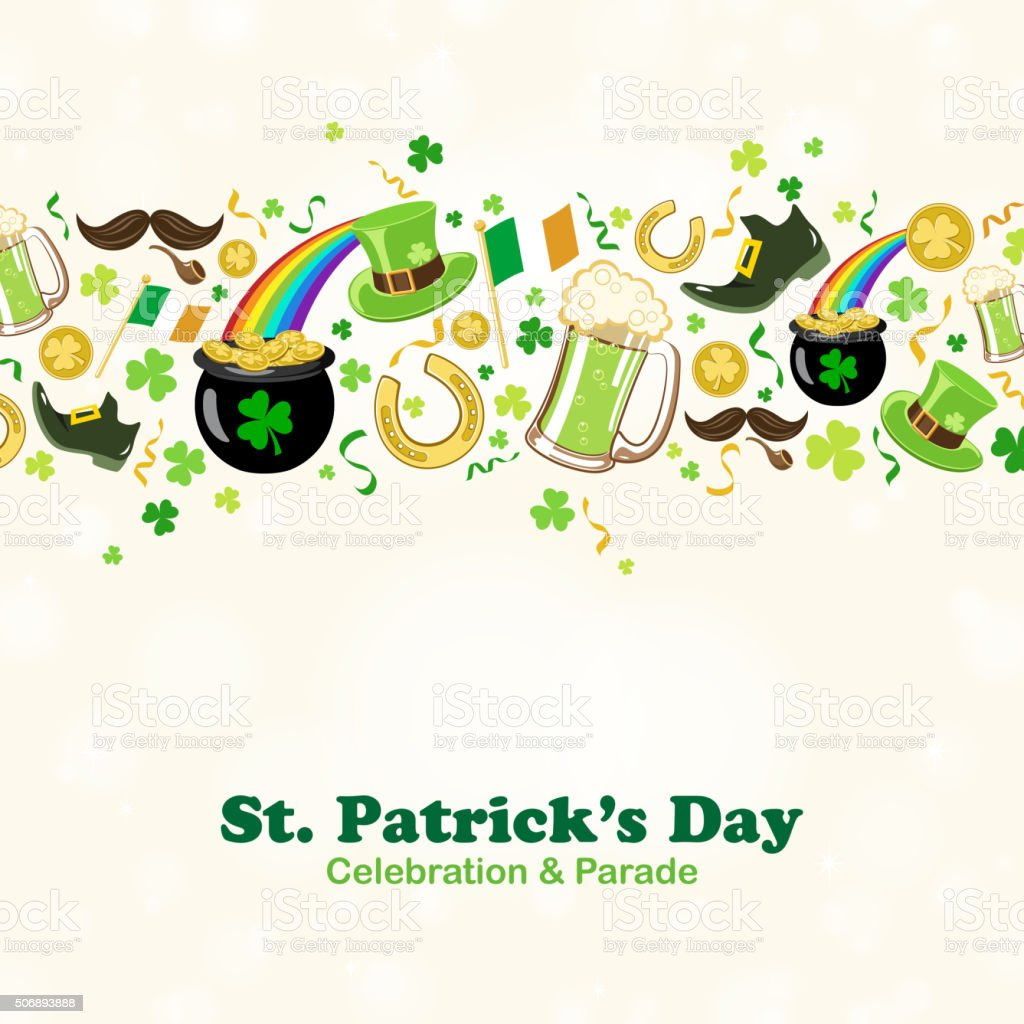 St patrick's day border vector art illustration