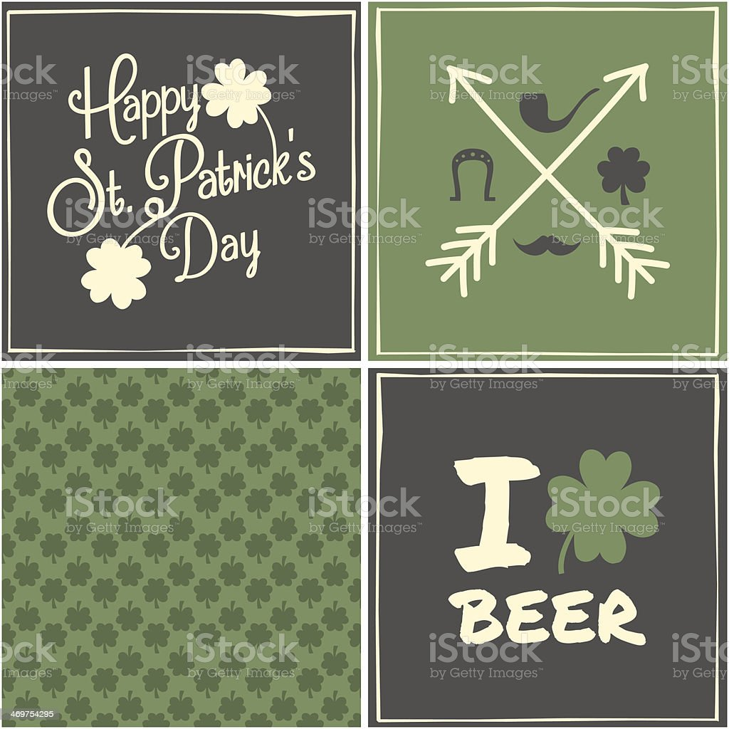 St. Patrick's Day Cards Collection vector art illustration
