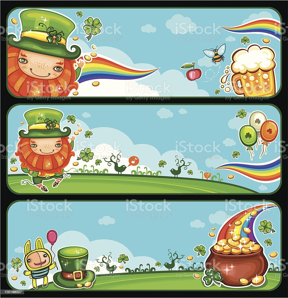 St Patrick's Day cartoon banners royalty-free stock vector art