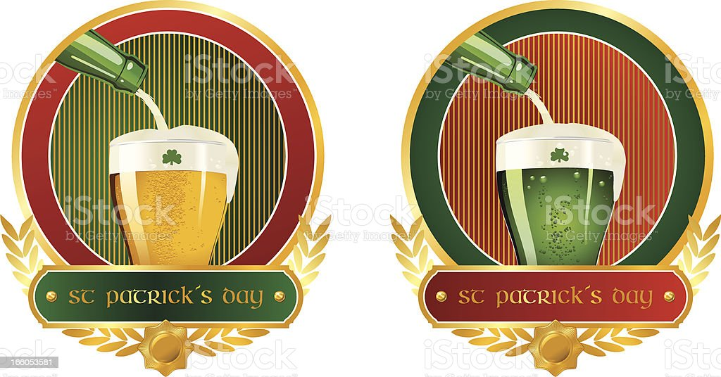 St. Patrick's Day celebration labels royalty-free stock vector art
