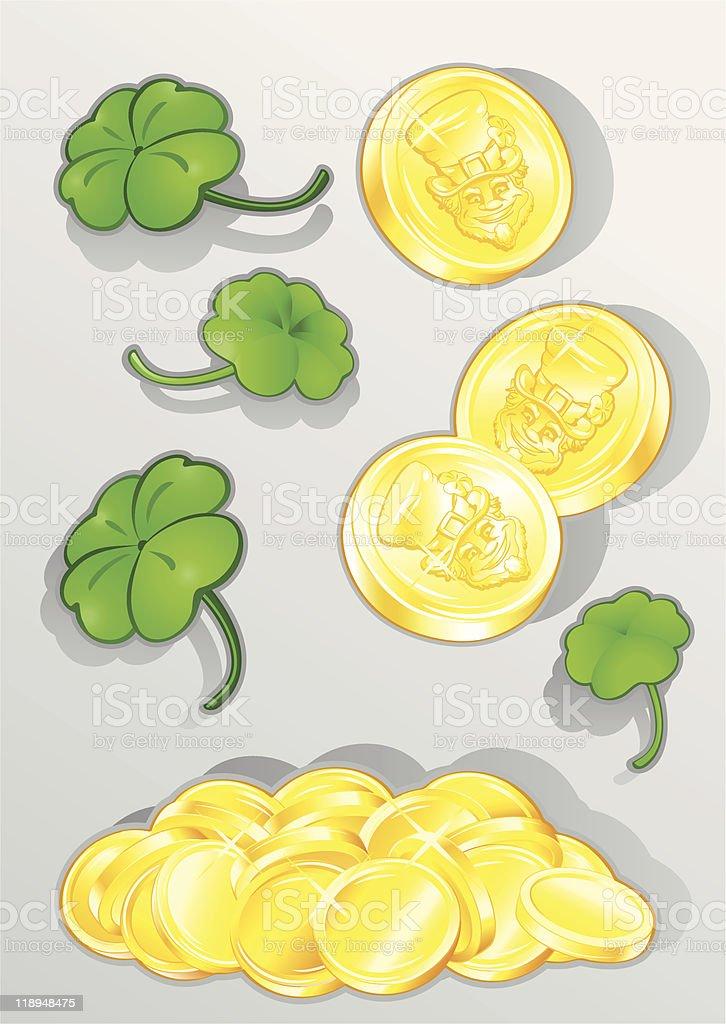 St. Patricks Day Clover and Treasure royalty-free stock vector art