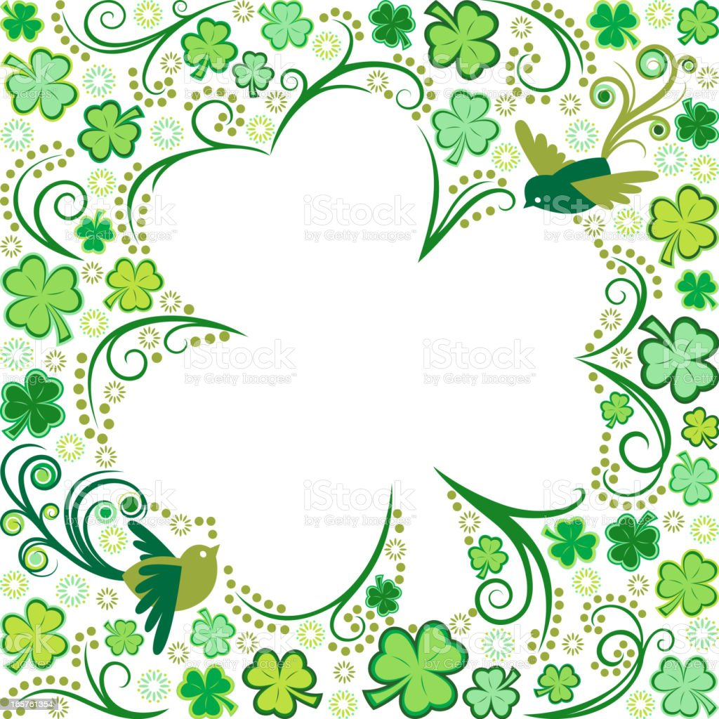 St. Patrick's Day Clover Leaf Frame royalty-free stock vector art