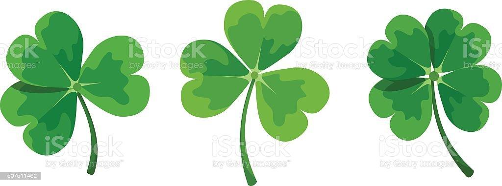 St. Patrick's day clovers (shamrock). Vector illustration. vector art illustration