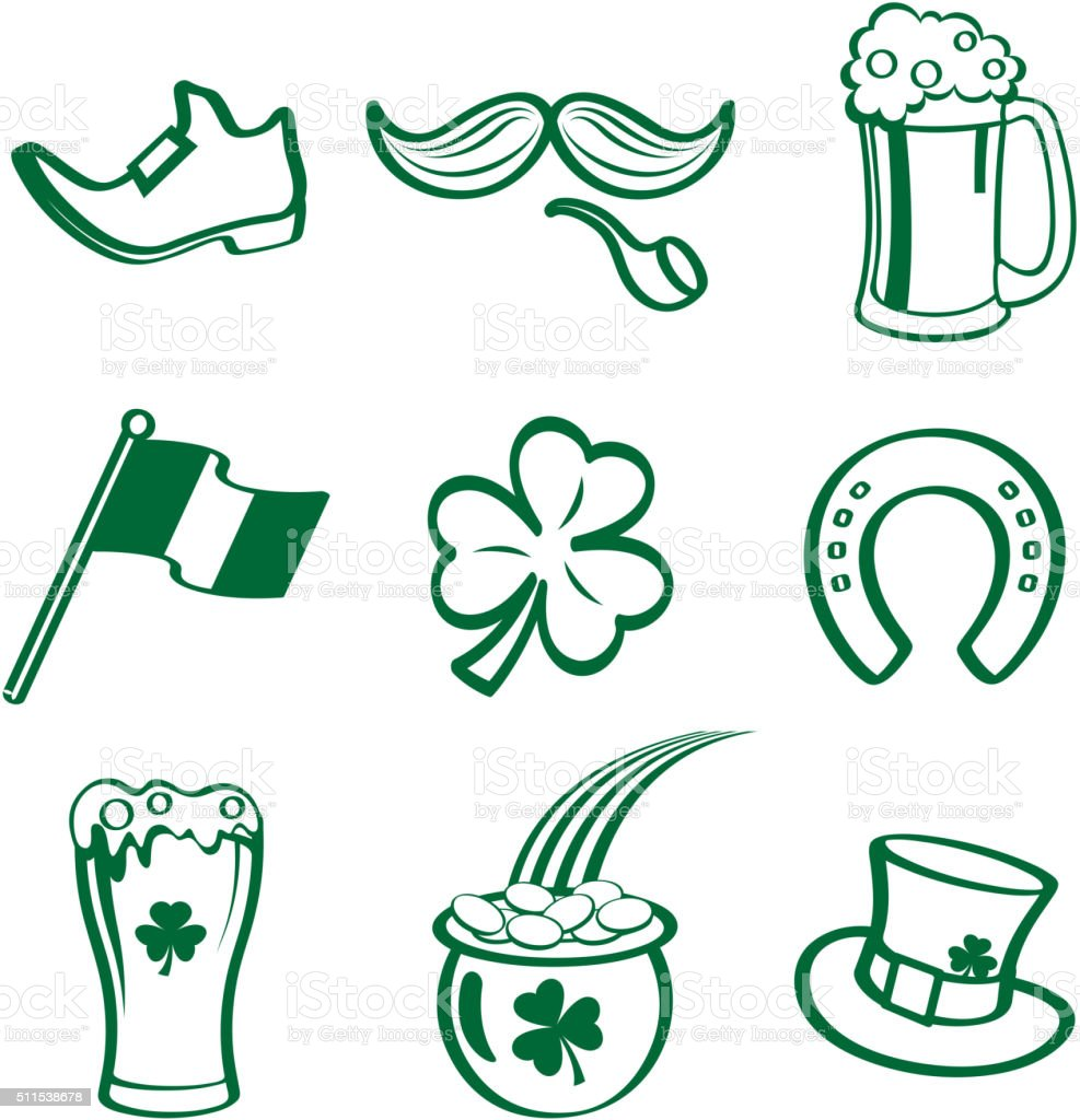 St patrick's day doddle vector art illustration