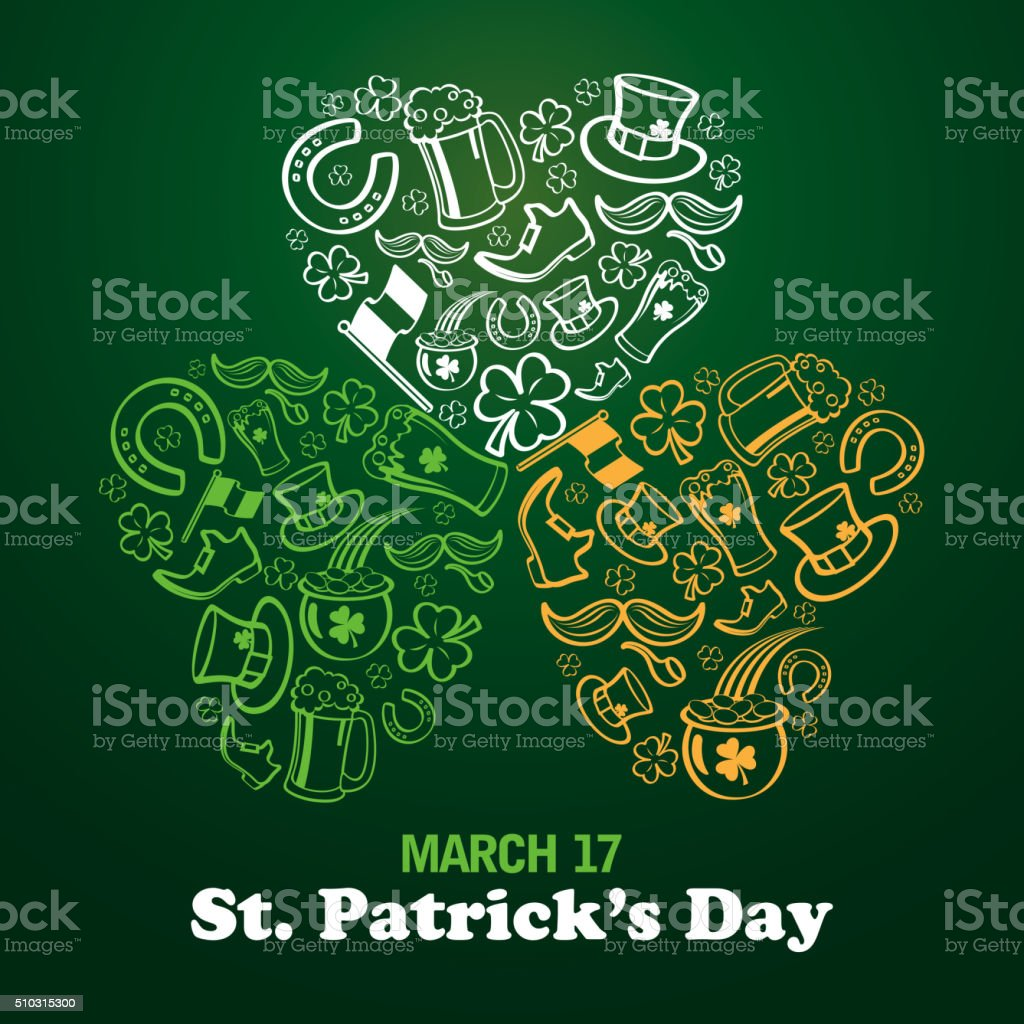 St patrick's day elements vector art illustration