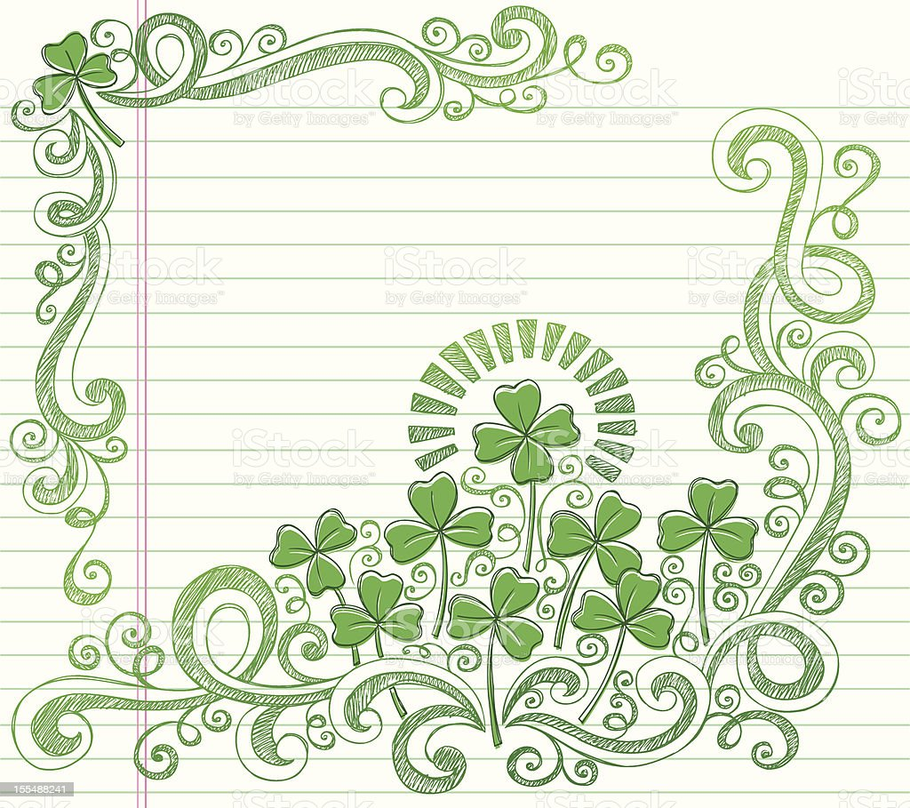 St Patricks Day Four Leaf Clover Sketchy Doodles Vector royalty-free stock vector art