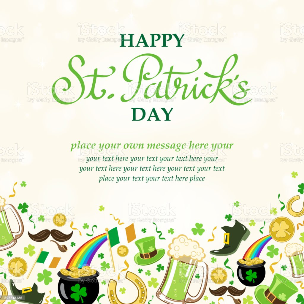 St patrick's day frame vector art illustration