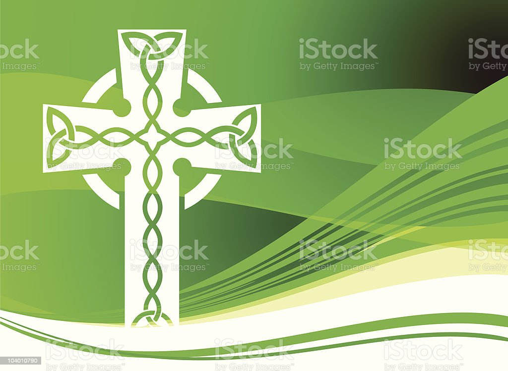 st patrick's day Green background with Celtic Cross royalty-free stock vector art