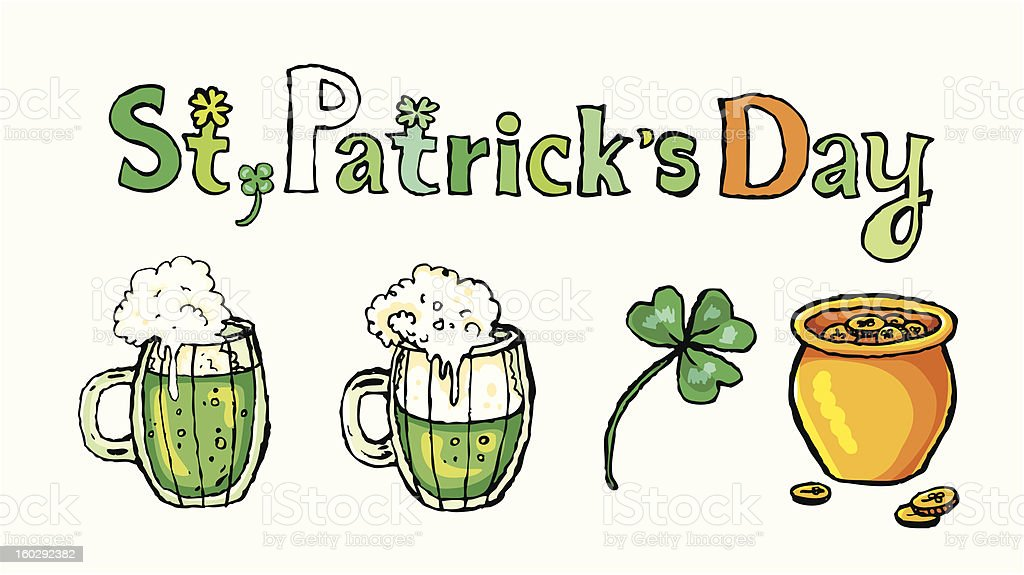 st. patrick's day greeting /  beer royalty-free stock vector art