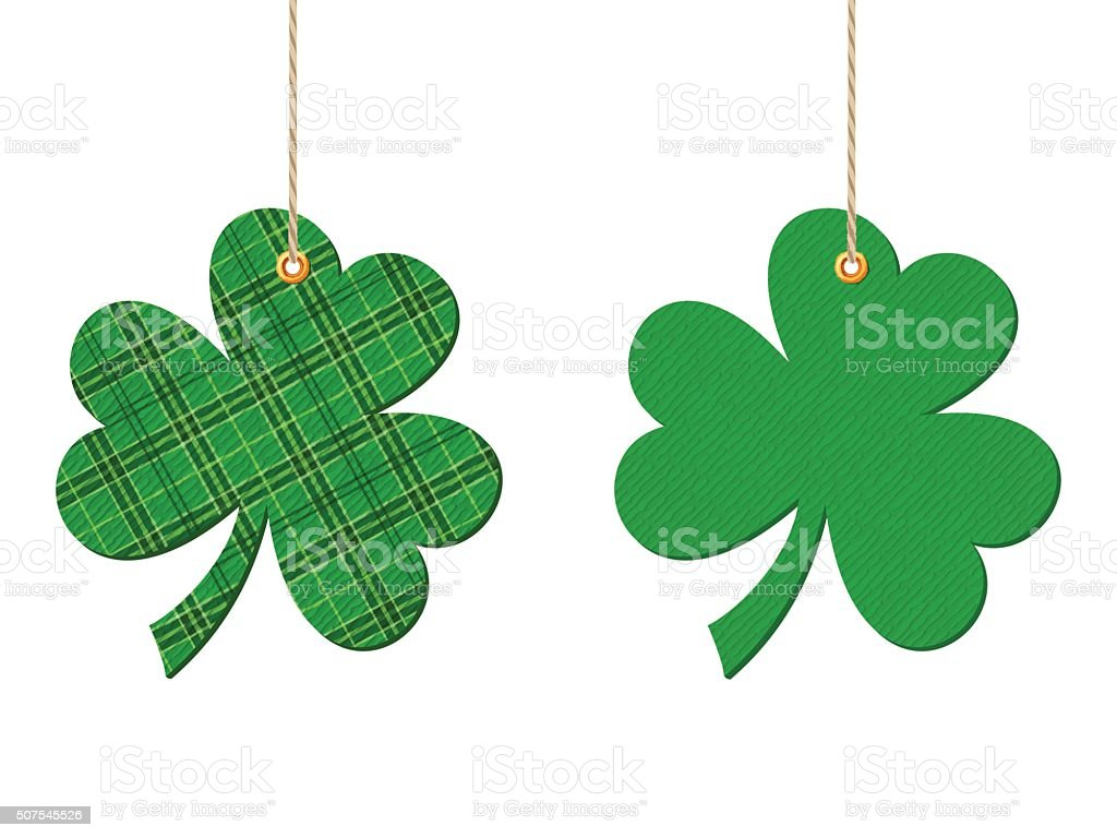 St. Patrick's day hanging clovers (shamrock). Vector illustration. vector art illustration