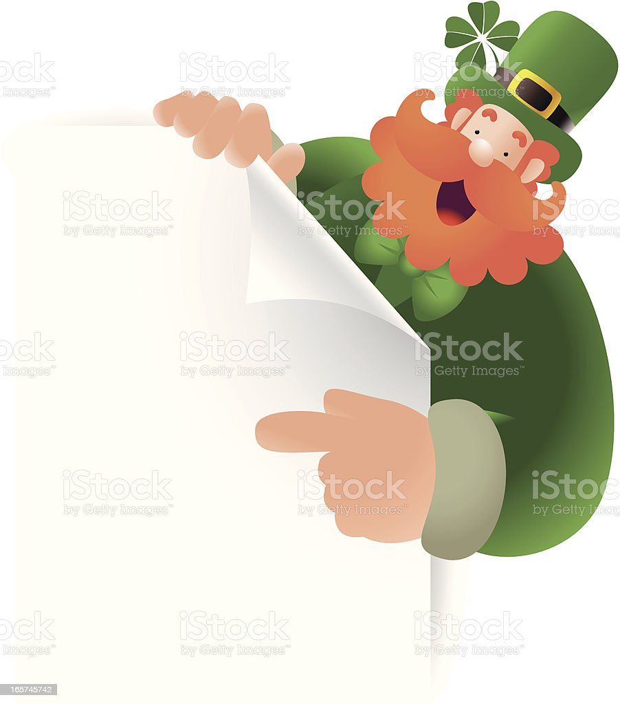 St. Patrick's day: Happy Leprechaun Holding A Sign And Pointing royalty-free stock vector art