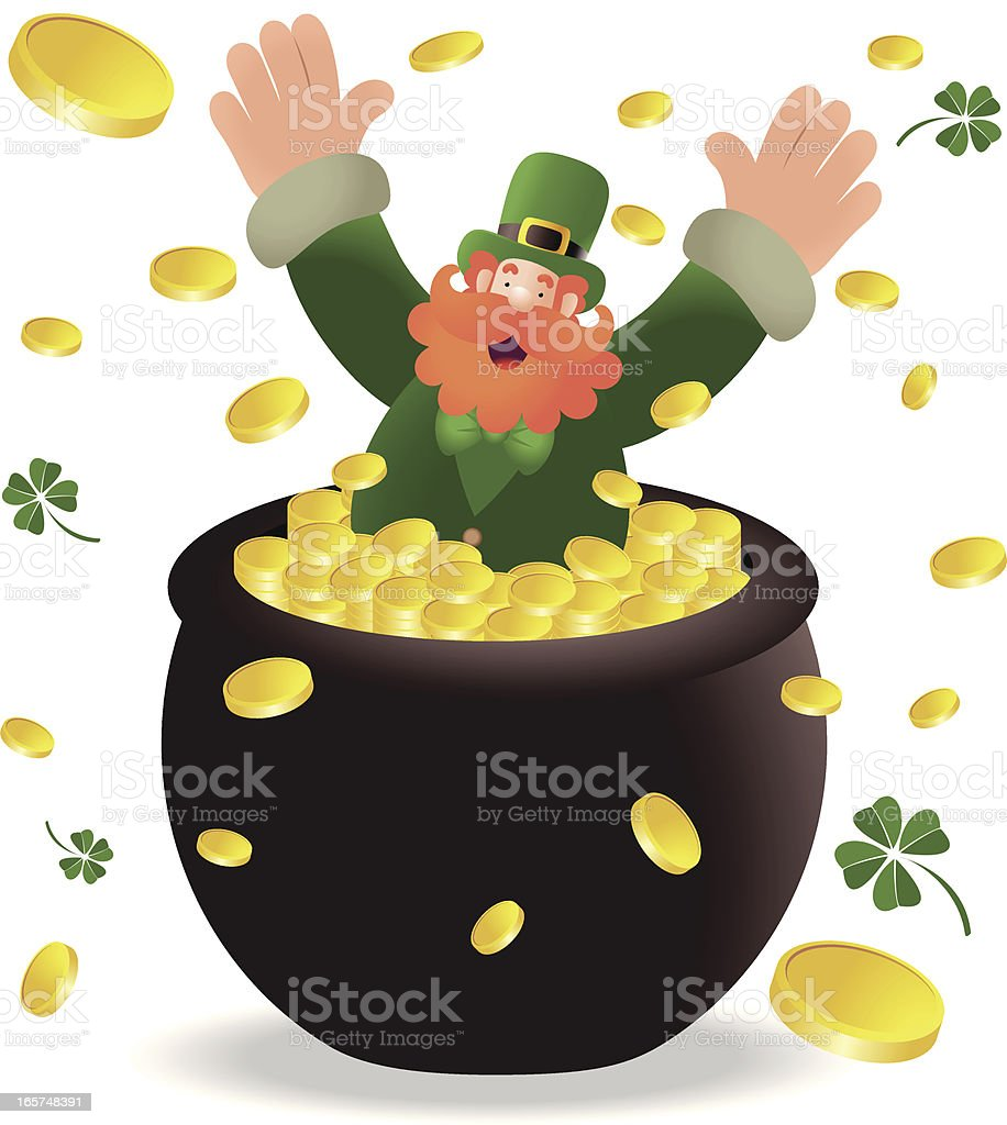 St. Patrick's day: Happy Leprechaun With Pot Of Gold royalty-free stock vector art