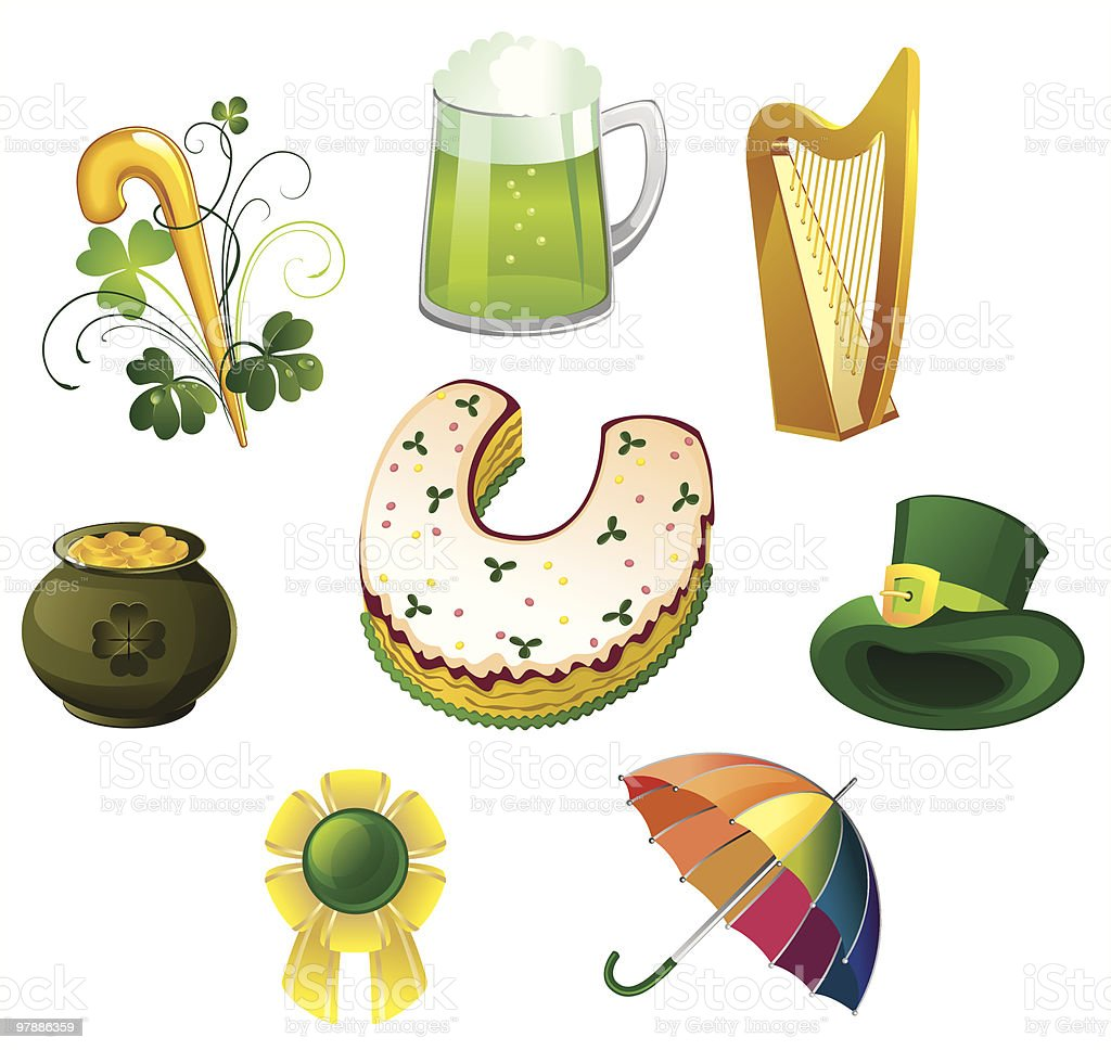 St. Patrick's Day icon set royalty-free stock vector art