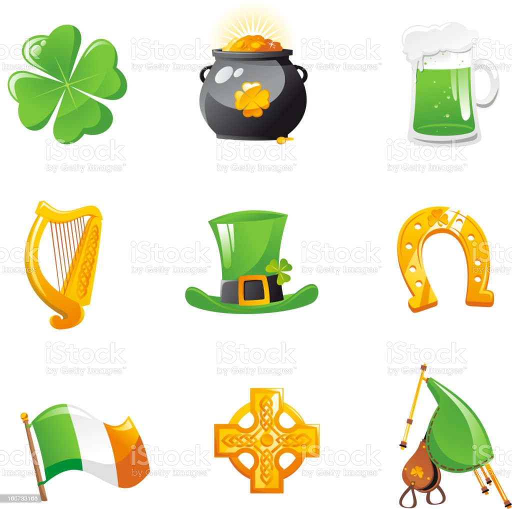St Patrick's Day Icons Clover Gold Pot beer Harp Irish royalty-free stock vector art