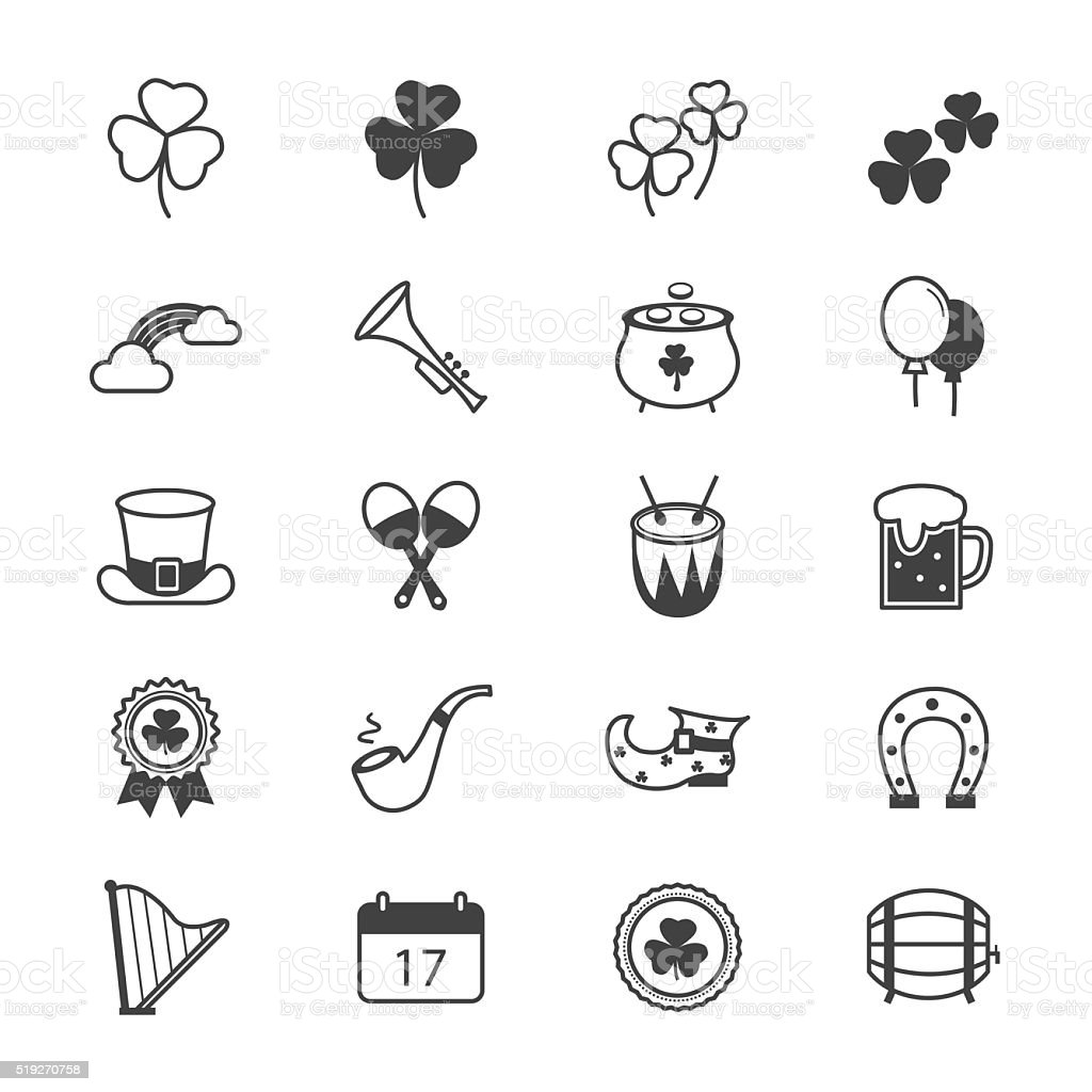 St Patricks Day Icons Line vector art illustration