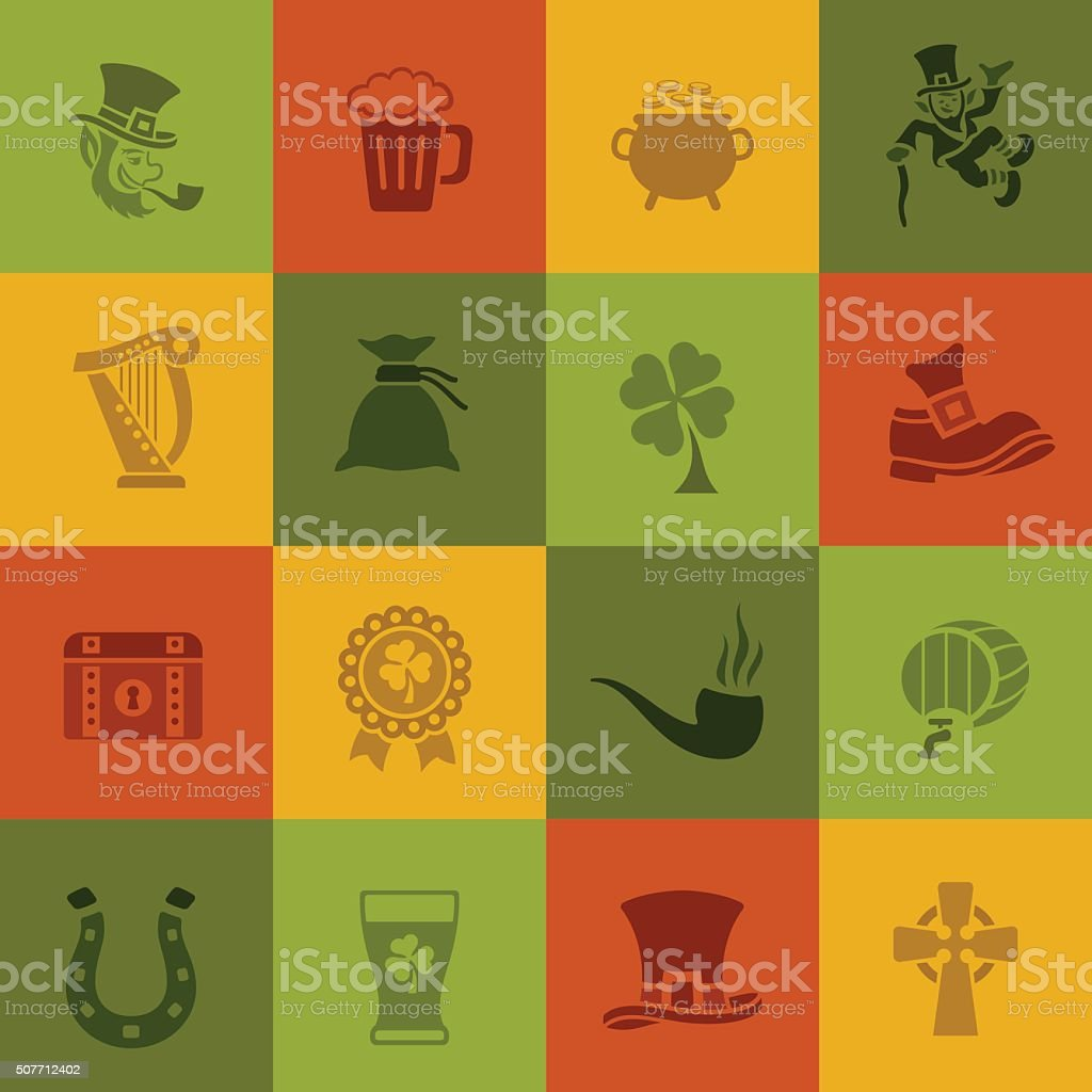 St. Patrick's Day Icons vector art illustration