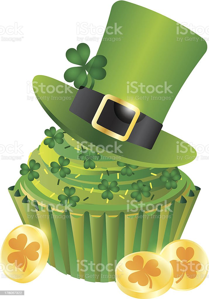 St Patricks Day Leprechaun Hat Cupcake Vector Illustration royalty-free stock vector art