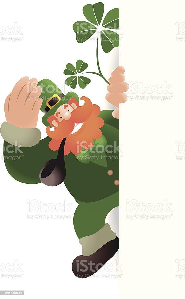 St. Patrick's day: Leprechaun Holding And Peeking At Blank Sign vector art illustration