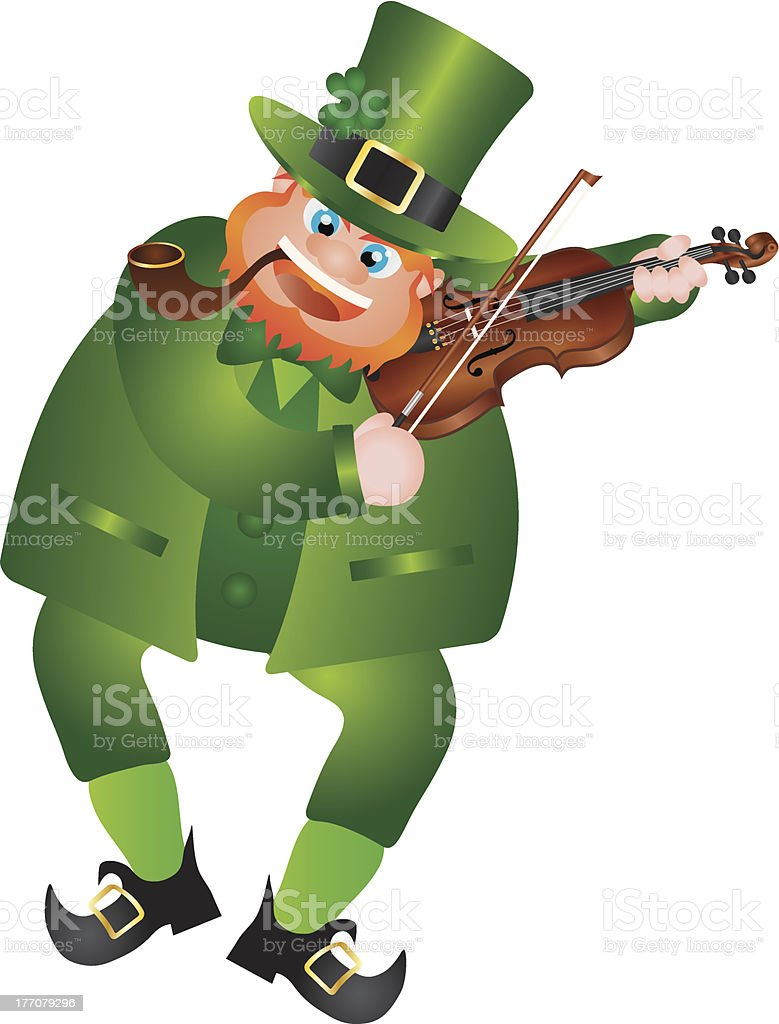 St Patricks Day Leprechaun Playing Violin royalty-free stock vector art