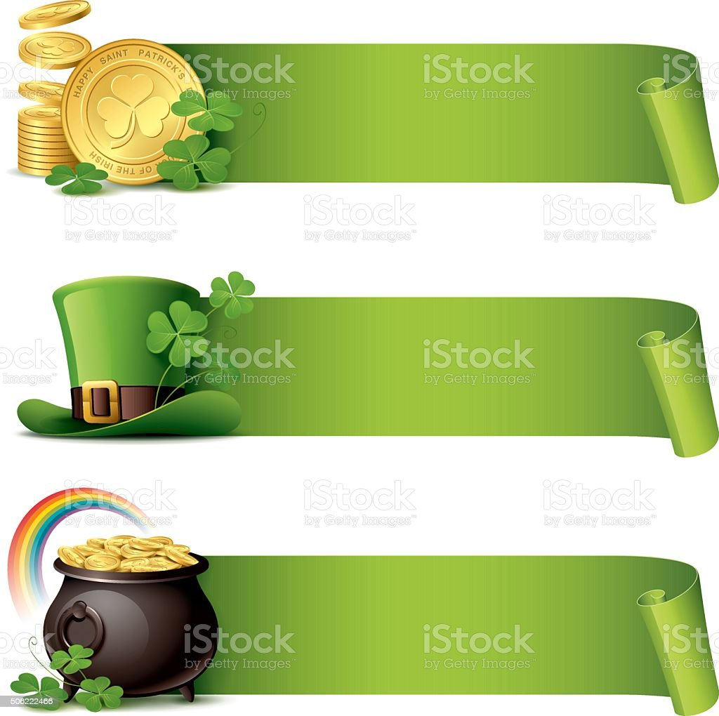 St Patrick's Day - paper curl banner set vector art illustration