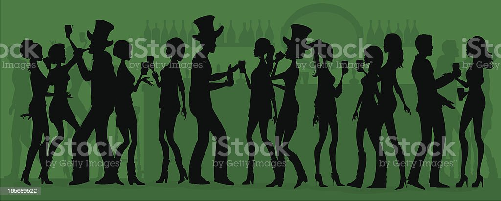 St Patrick's Day Party Silhouette vector art illustration