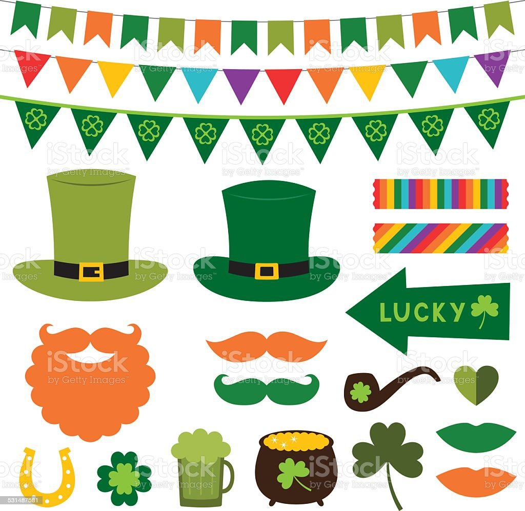 St. Patrick's Day photo booth props and scrapbooking vector set vector art illustration