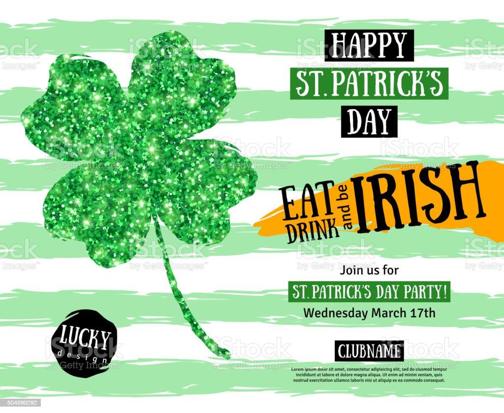 St. Patricks Day Pub Party Invitation template vector art illustration
