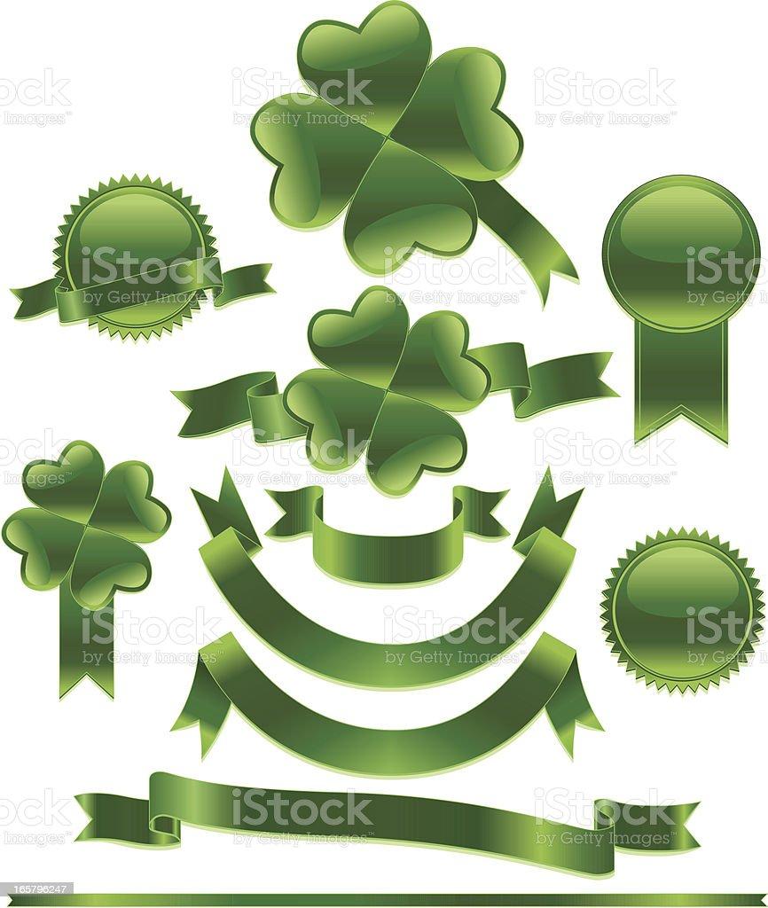 St. Patrick's Day Ribbons, Seals, Sticker Set: Metallic Green royalty-free stock vector art