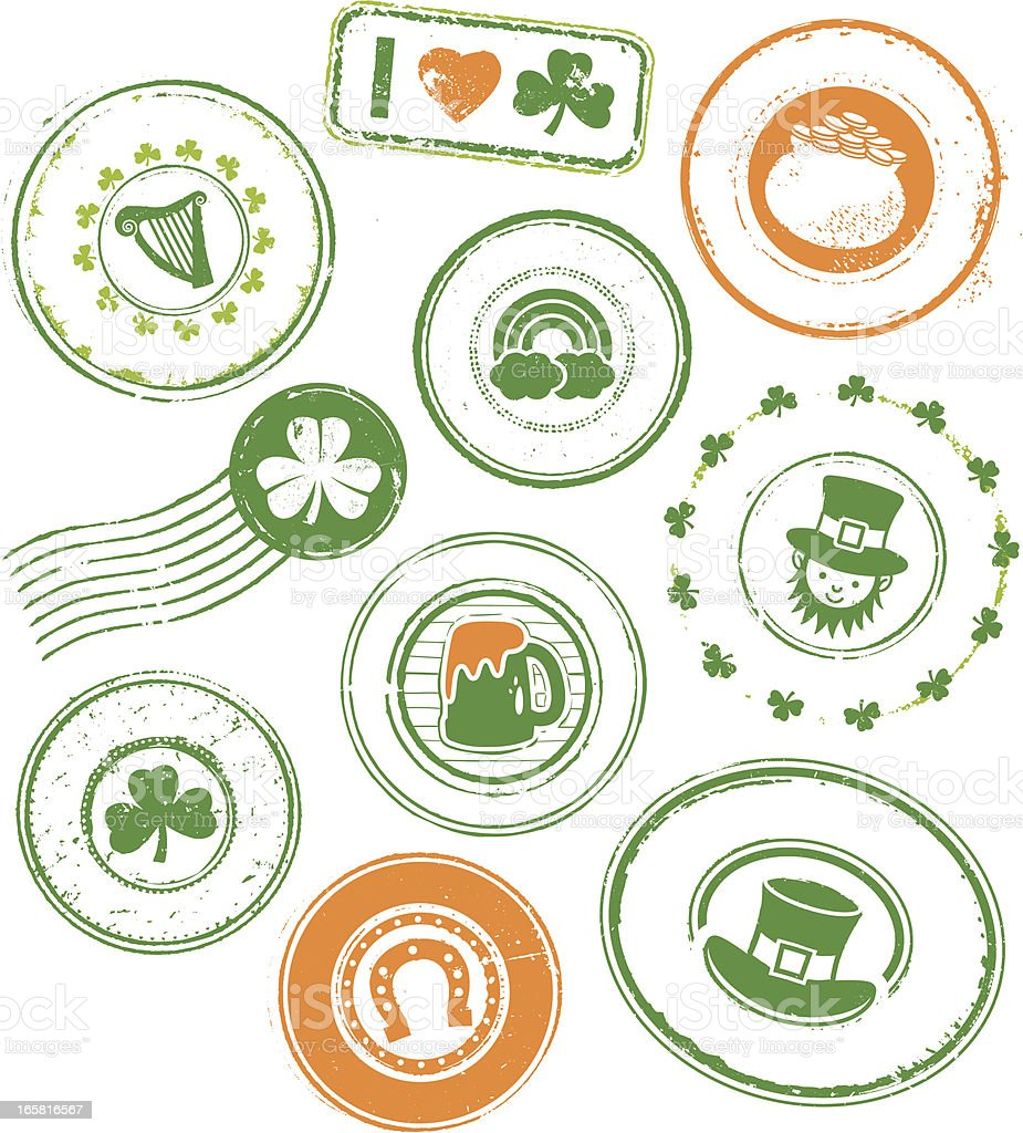 St Patrick's Day Rubber Stamps royalty-free stock vector art