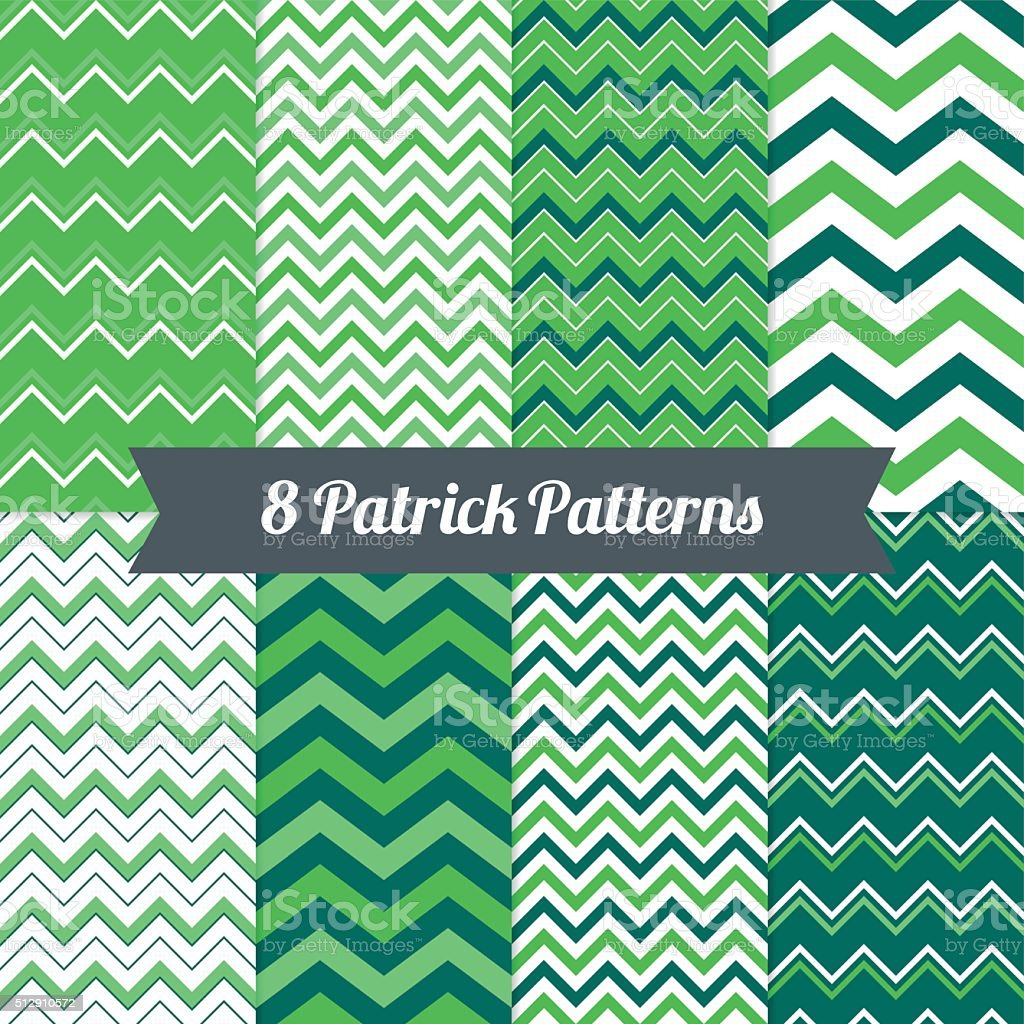 St. Patrick's Day seamless patterns with Chevron in Green vector art illustration