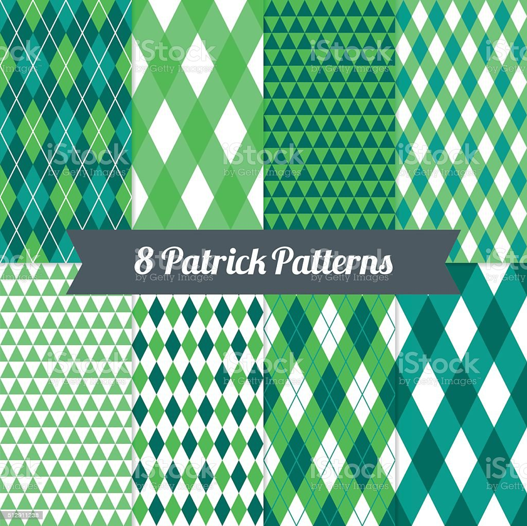 St. Patrick's Day seamless patterns with Harlequin, Argyle and Triangles vector art illustration