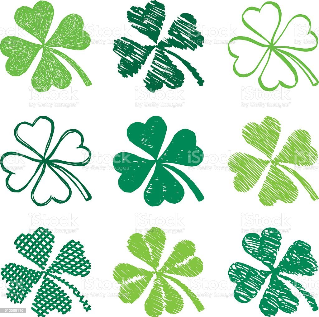 St. Patrick's Day Shamrock Symbols vector art illustration