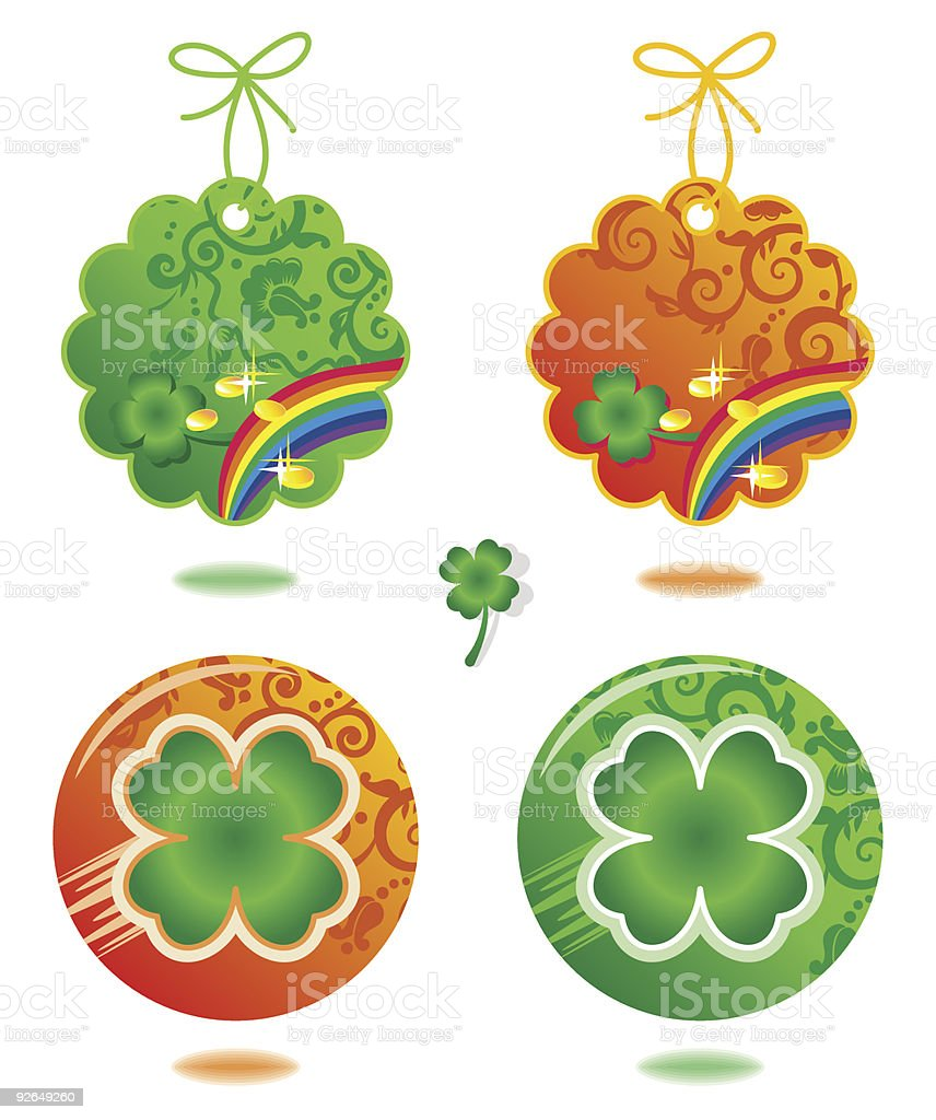 St. Patrick's Day tags and buttons with four leaf clover royalty-free stock vector art