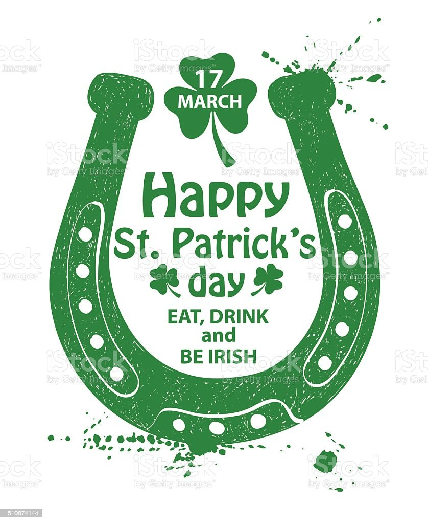 St. Patrick's Day Typography Poster With Horseshoe. vector art illustration