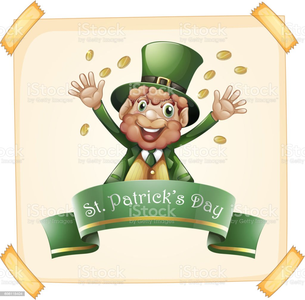 St Patrick's Day with leprechaun and gold vector art illustration