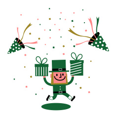 St. Patrick's Day-Leprechaun with gift vector art illustration