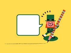 St. Patrick's Day-Leprechaun with pencil vector art illustration